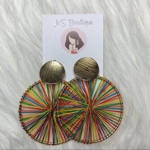 Big Colorful round studs earrings
